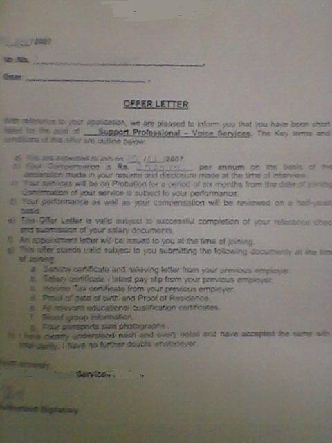 offer letter format for bpo 1