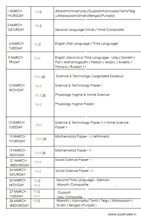 ssc time table march 2012
