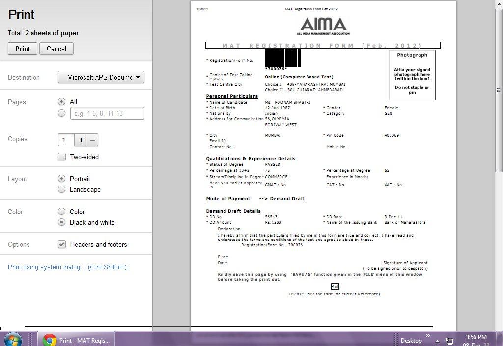 mat exam 2012 application form