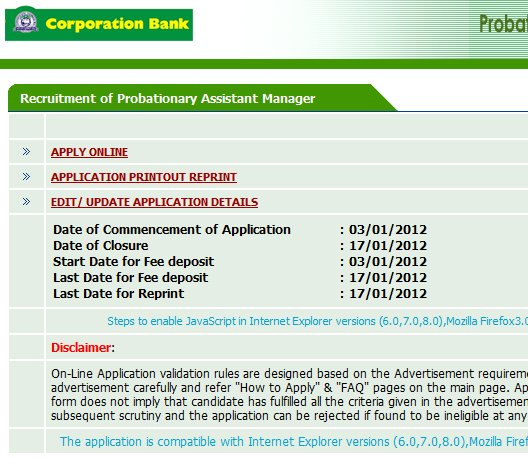 Corporation Bank Probationary Assistant Manager 2012 application