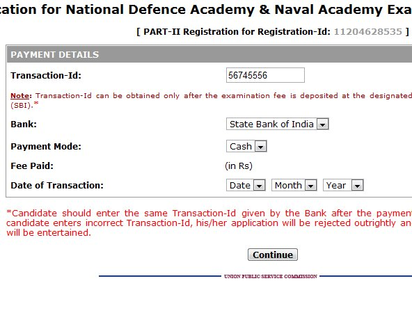 NDA 2012 online application form procedure