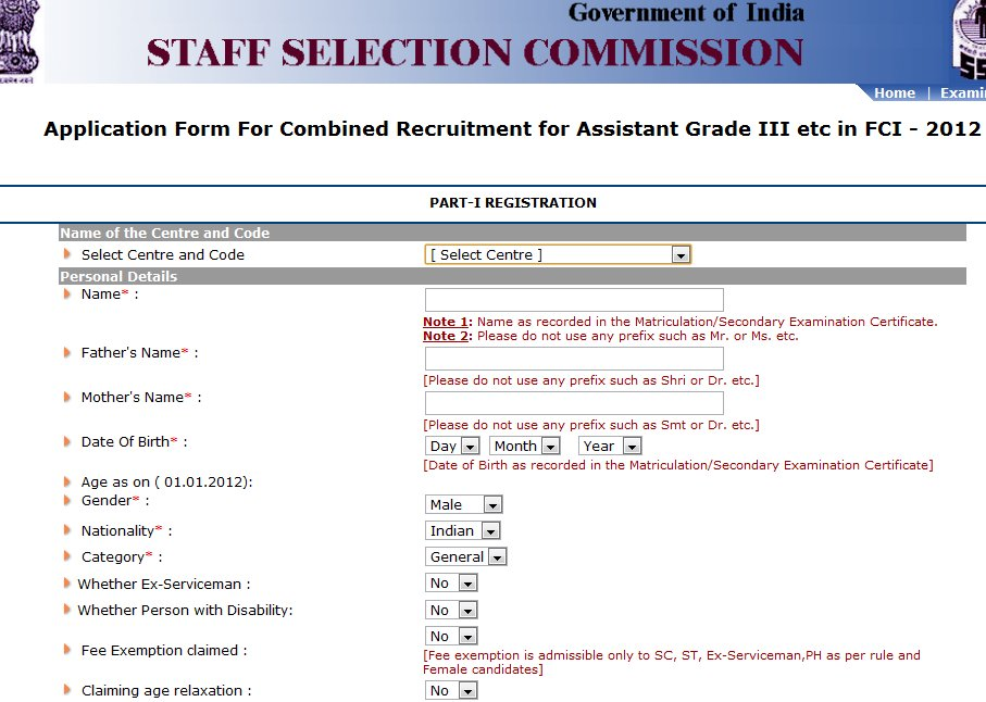 fci recruitment 2012 online application
