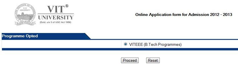 VITEEE 2012 online registration