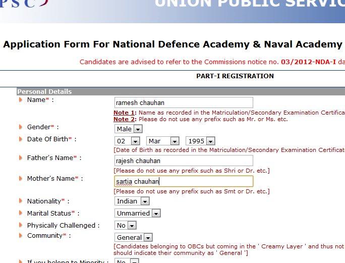 NDA online application form procedure